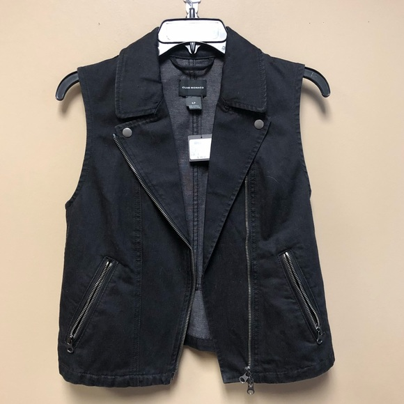Club Monaco Jackets & Blazers - New Club Monaco black denim vest motorcycle Small